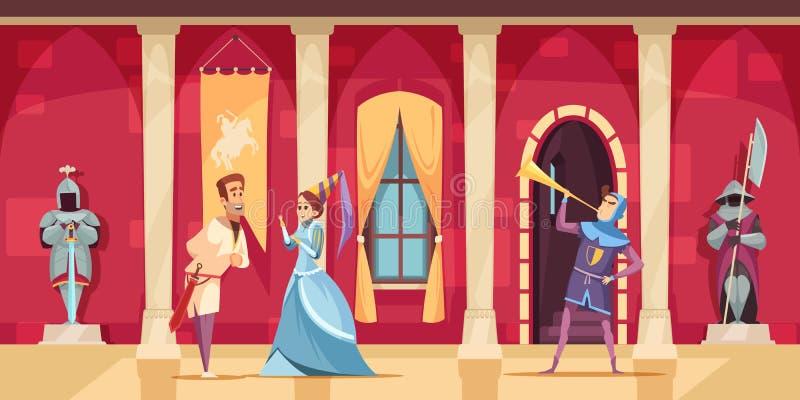 Desenhos animados interiores dos povos do castelo ilustração stock