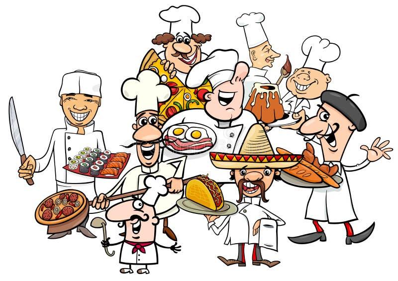 Desenhos animados internacionais do grupo dos cozinheiros chefe da culinária ilustração do vetor