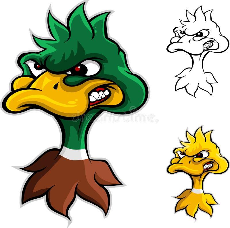 Desenhos animados irritados da cabeça do pato ilustração do vetor