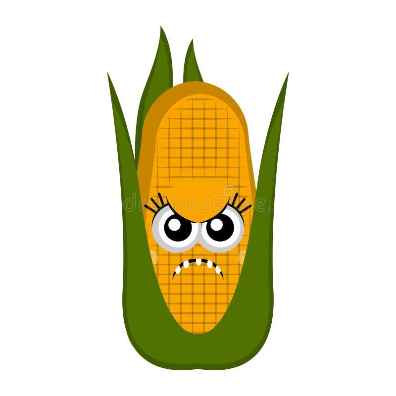 Desenhos animados irritados da espiga de milho ilustração royalty free