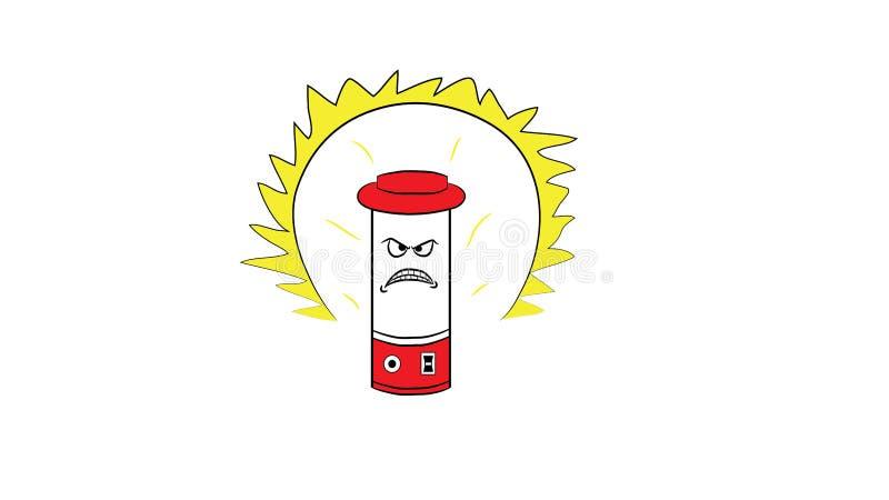 Desenhos animados irritados da lâmpada ou da lanterna imagens de stock royalty free