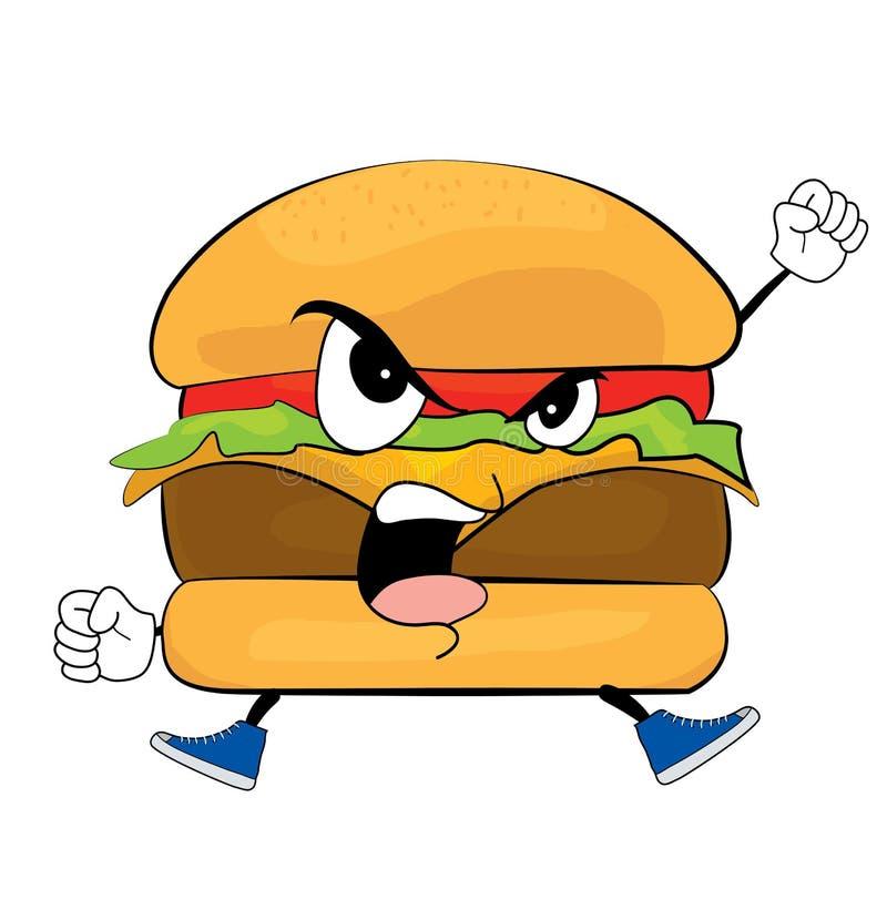 Desenhos animados irritados do hamburguer ilustração do vetor