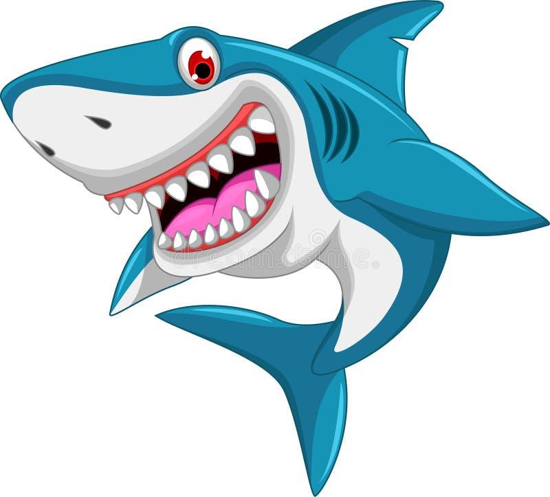 Desenhos animados irritados do tubarão ilustração stock