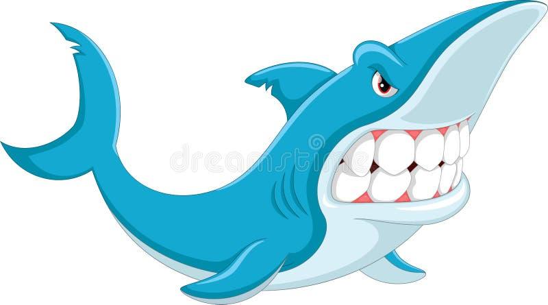 Desenhos animados irritados do tubarão ilustração royalty free