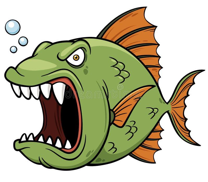Desenhos animados irritados dos peixes ilustração do vetor