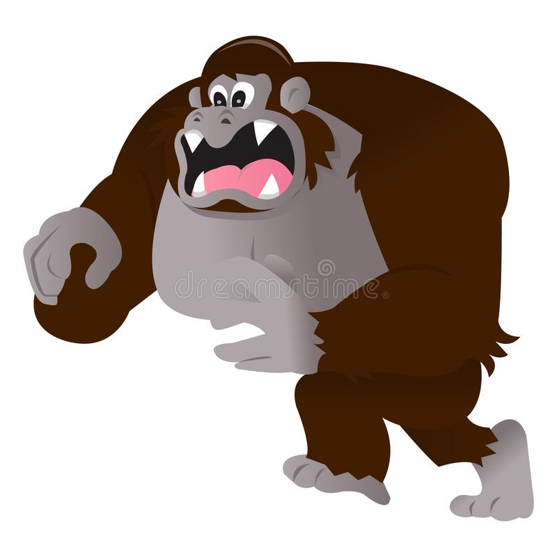 Desenhos animados irritados Gorilla Lunging Forward ilustração royalty free