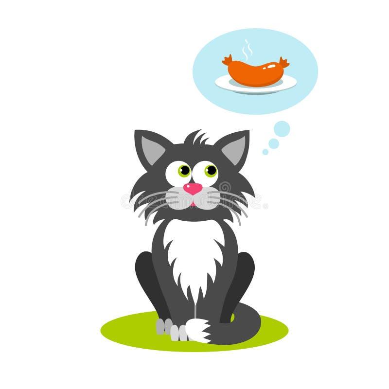 Desenhos animados isolados que sentam o gato cinzento no fundo branco O gato de Frendly pensa sobre o alimento, salsicha Personag ilustração royalty free