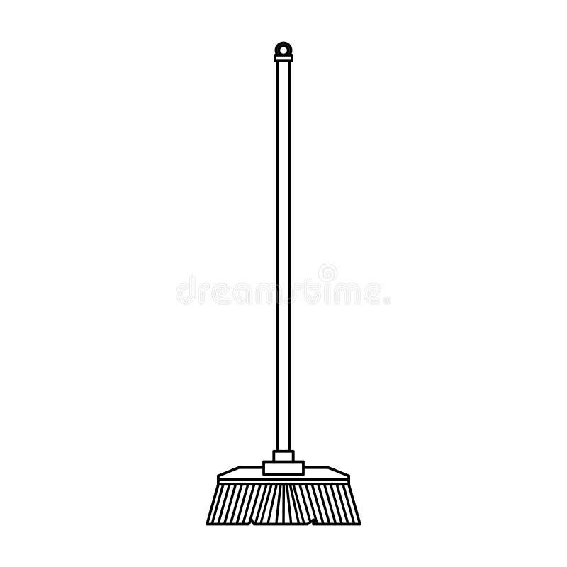Desenhos animados isolados vassoura de limpeza do símbolo em preto e branco ilustração royalty free