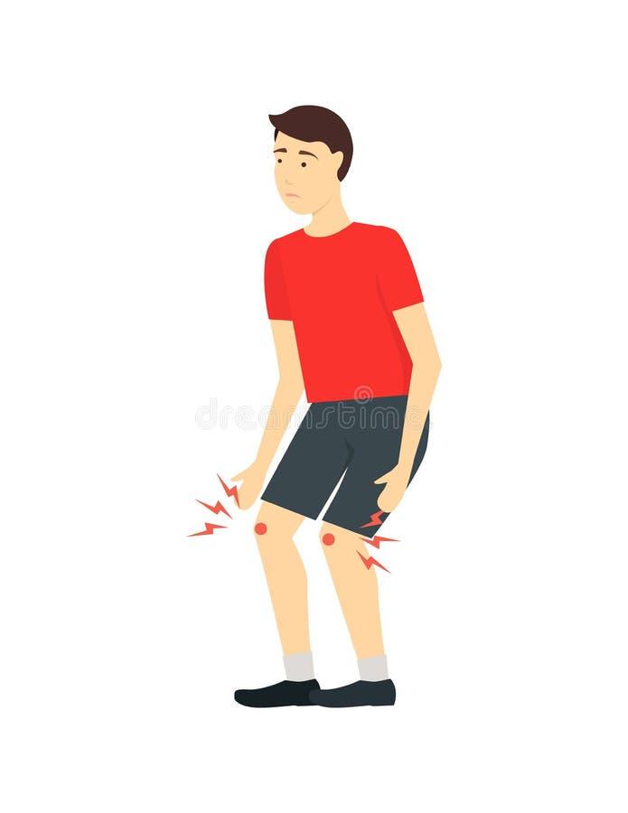 Desenhos animados Jumper Knee Rehabilitation Card Poster Vetor ilustração do vetor