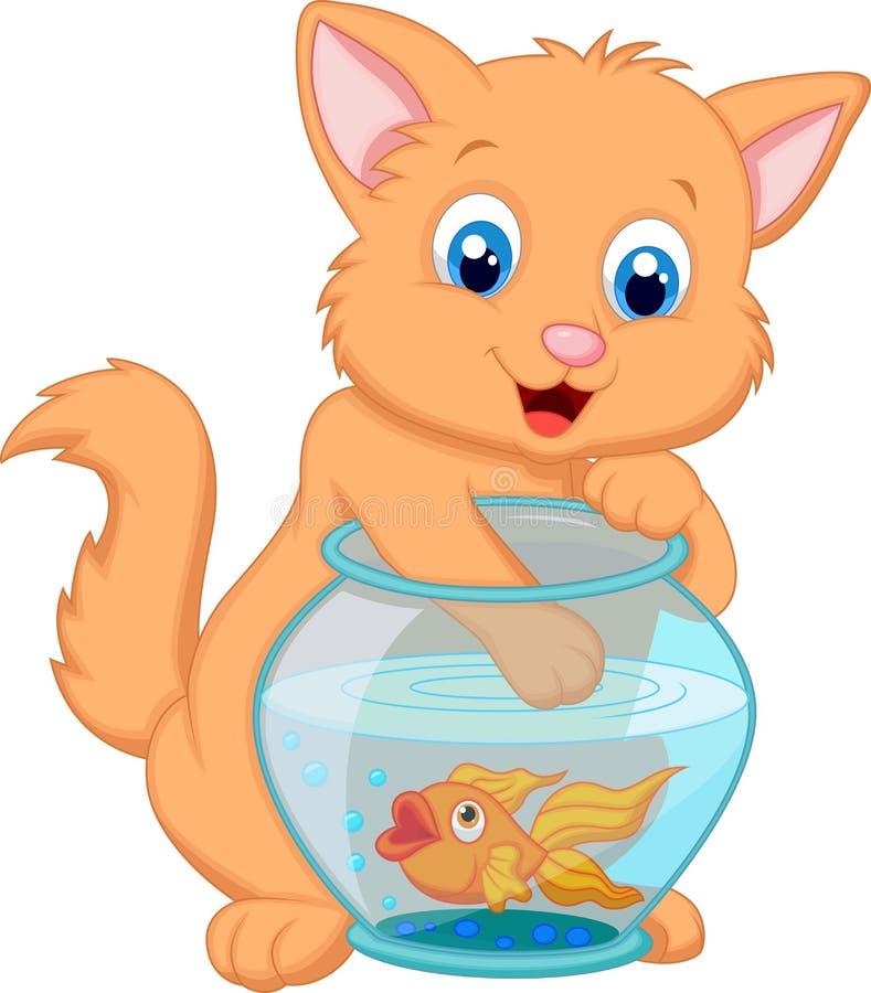 Desenhos animados Kitten Fishing para peixes do ouro em uma bacia do aquário ilustração royalty free