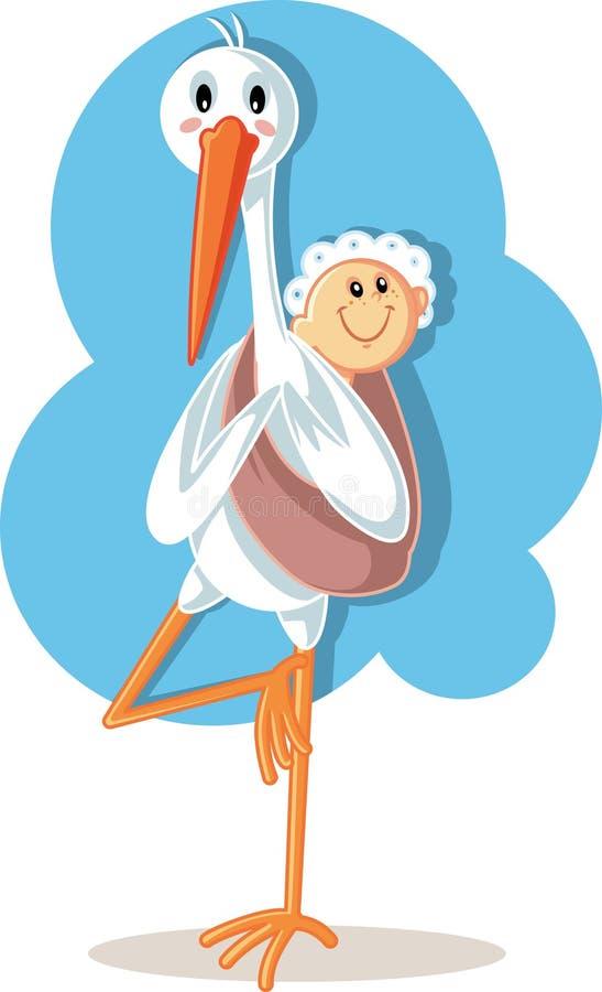 Desenhos animados levando do vetor do bebê da cegonha da ioga ilustração do vetor