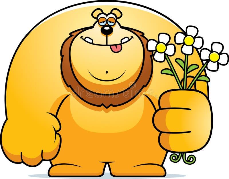 Desenhos animados Lion Flowers ilustração stock