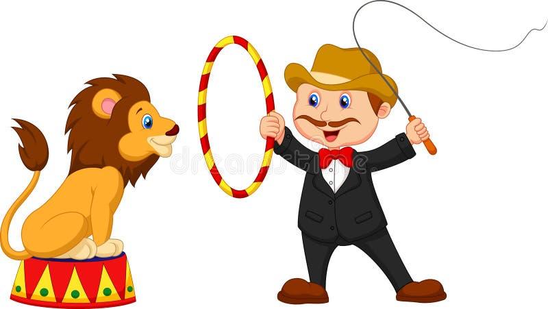Desenhos animados Lion Tamer com leão ilustração royalty free