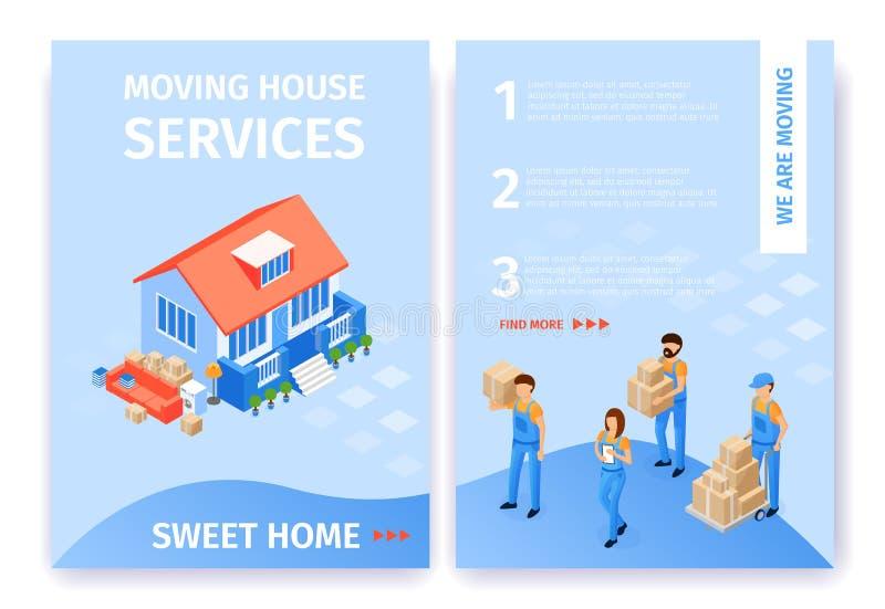 Desenhos animados lisos ajustados da casa doce movente dos servi?os da casa ilustração stock