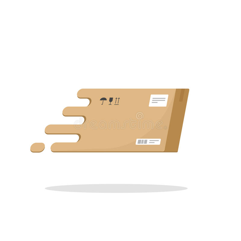 Desenhos animados lisos do ícone rápido do vetor do voo da caixa da entrega, logotype da caixa do pacote do pacote da caixa, símb ilustração do vetor