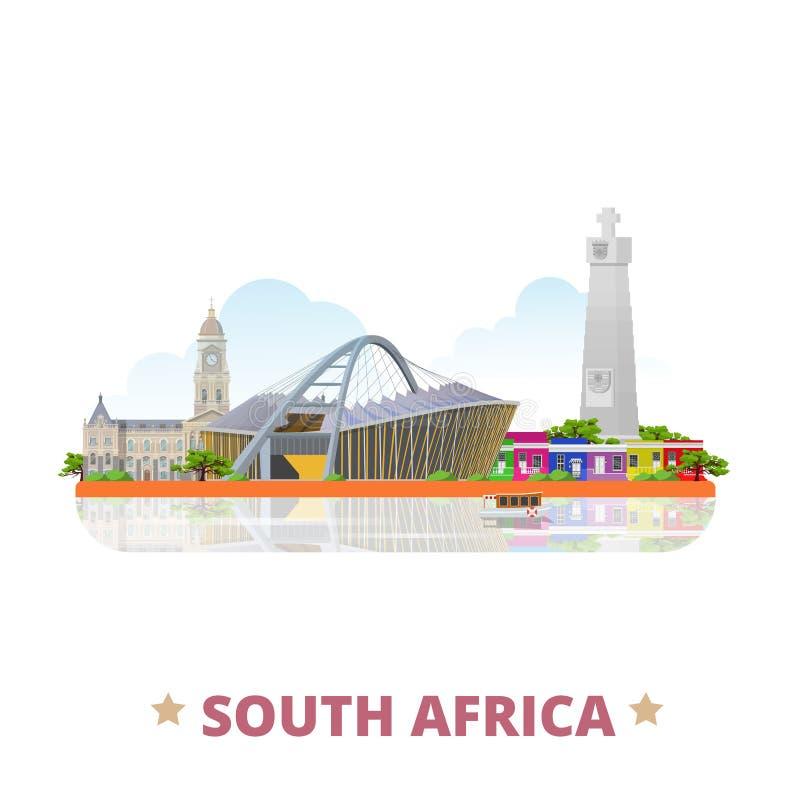 Desenhos animados lisos do molde do projeto do país de África do Sul ilustração stock