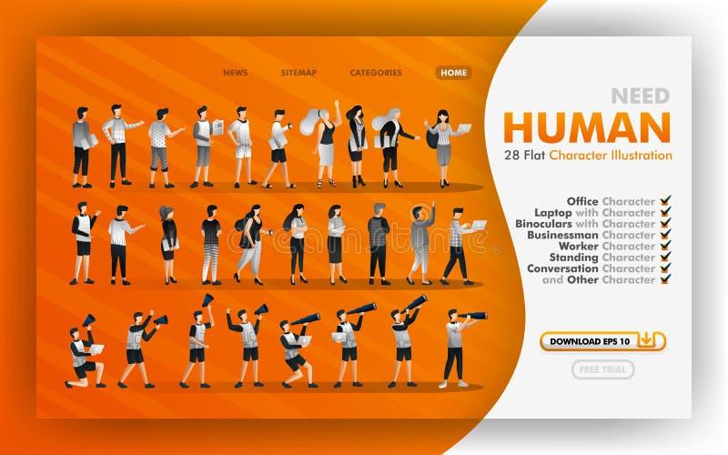 28 desenhos animados lisos para a ilustração da Web do vetor da transferência, coleção da ilustração humana lisa com temas do esc ilustração royalty free