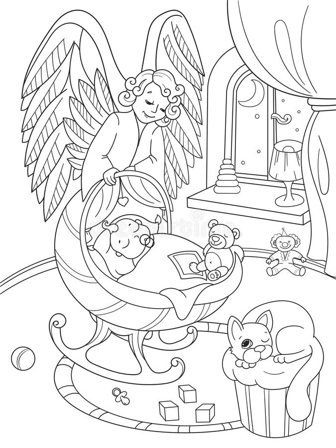 Desenhos animados, livro para colorir O anjo de The Guardian protege o sono dos babys Interior da sala de crianças ilustração do vetor
