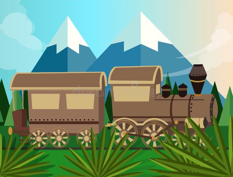 Desenhos animados locomotivos do vetor velho do vapor do trem na ilustração do verde da selva ilustração royalty free