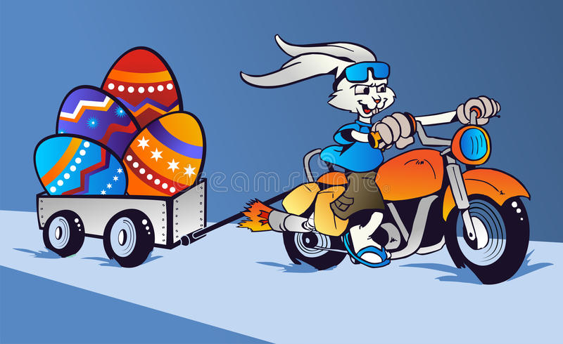 Desenhos animados loucos do coelho de Easter no velomotor ilustração royalty free