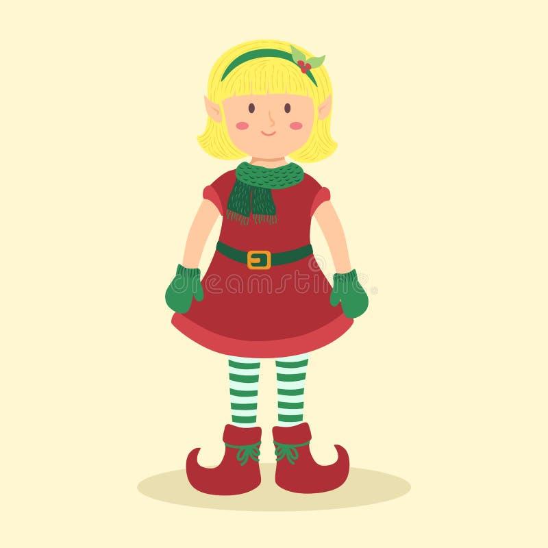 Desenhos animados louros da menina do duende do Natal ilustração stock