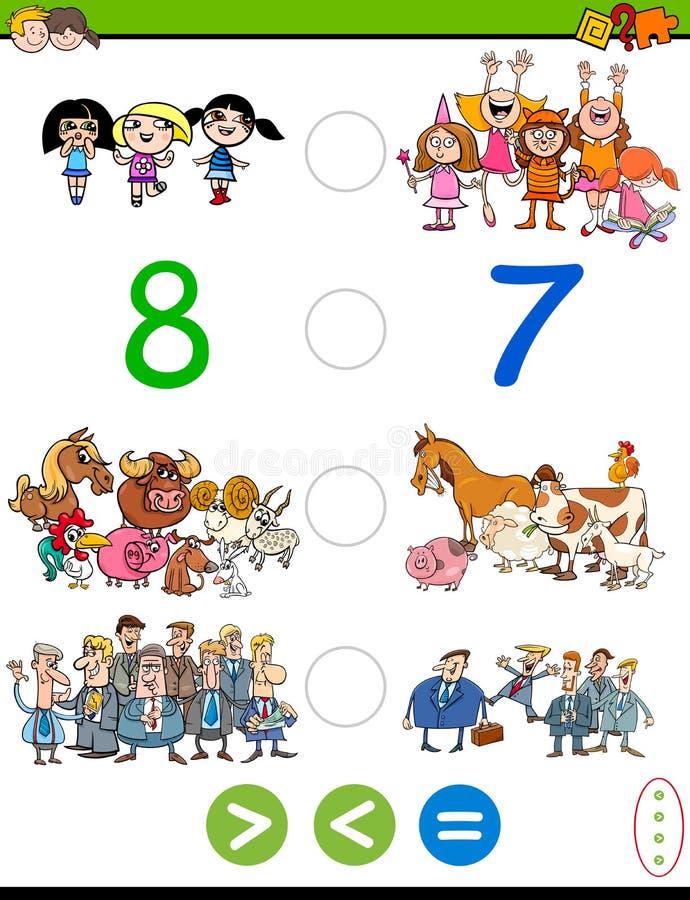 Desenhos animados maiores menos ou jogo igual ilustração royalty free