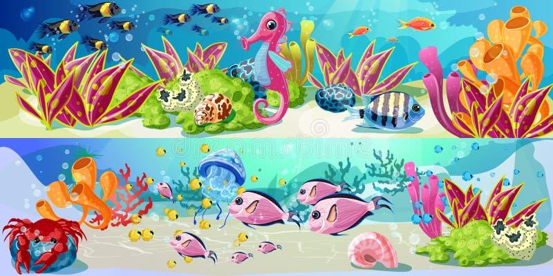 Desenhos animados Marine Underwater Life Horizontal Banners ilustração do vetor