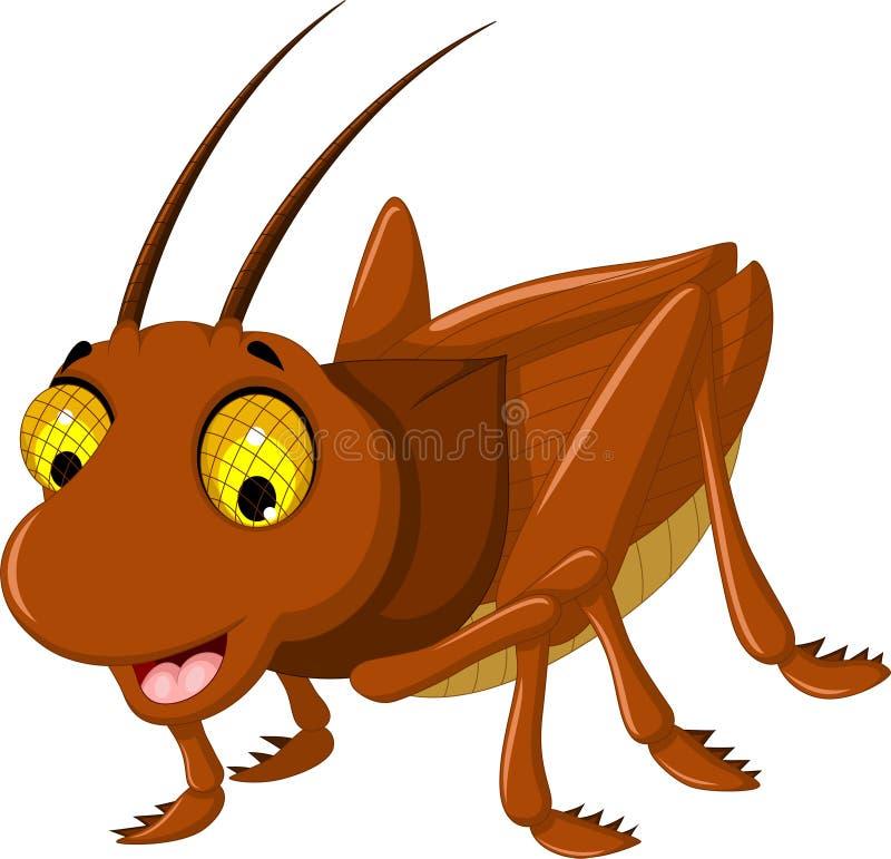 Desenhos animados marrons bonitos do gafanhoto ilustração stock