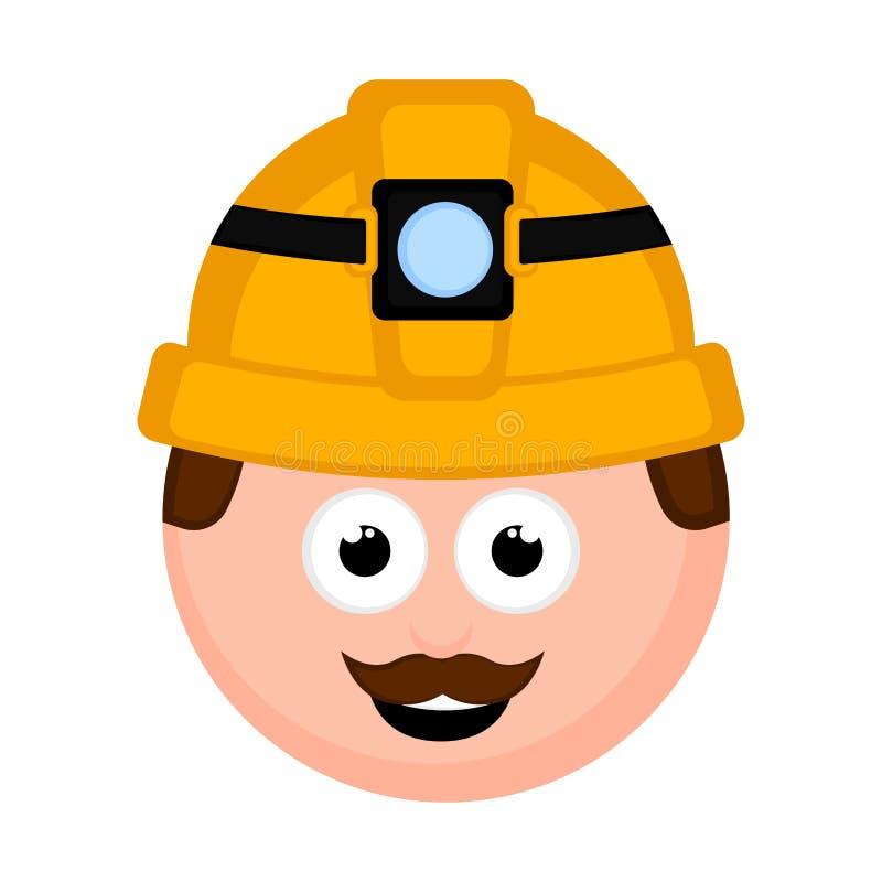 Desenhos animados masculinos isolados do avatar do mineiro ilustração royalty free