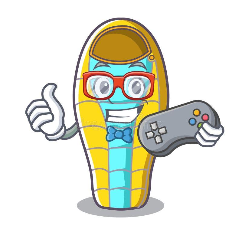 Desenhos animados maus da mascote do sono do Gamer ilustração do vetor