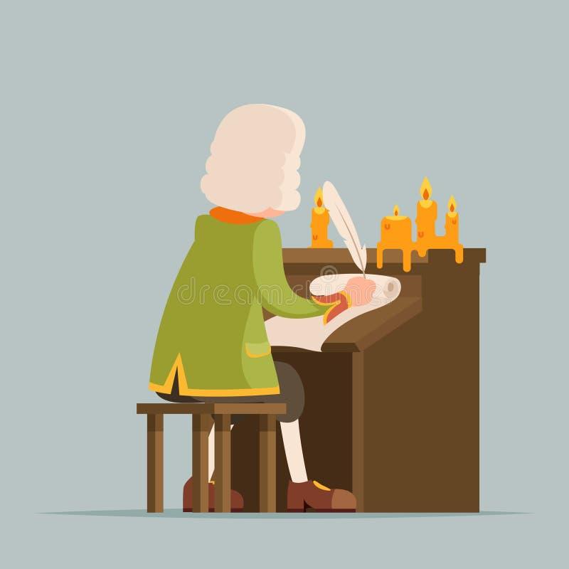 Desenhos animados medievais da mascote das velas do rolo do suporte de música da pena da peruca do aristocrata do dramaturgo nobr ilustração royalty free