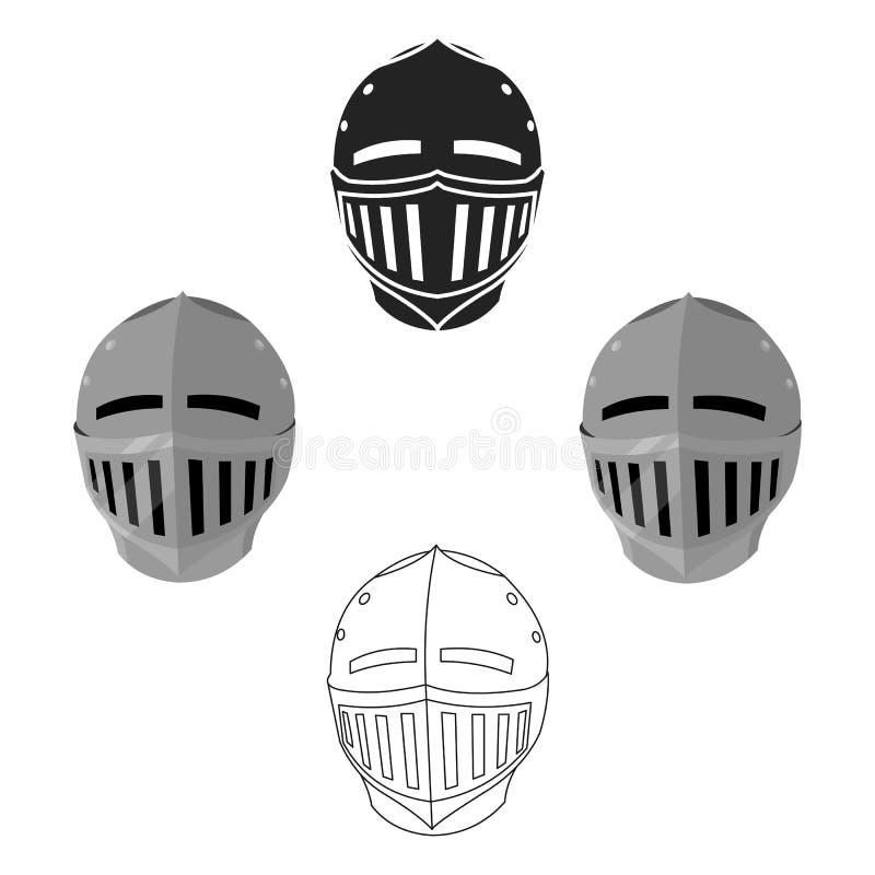 Desenhos animados medievais do ícone do capacete, pretos ?nico ?cone da muni??o grande, bra?os da arma ajustados ilustração stock