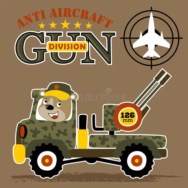 Desenhos animados militares do caminhão com a anti arma dos aviões ilustração do vetor
