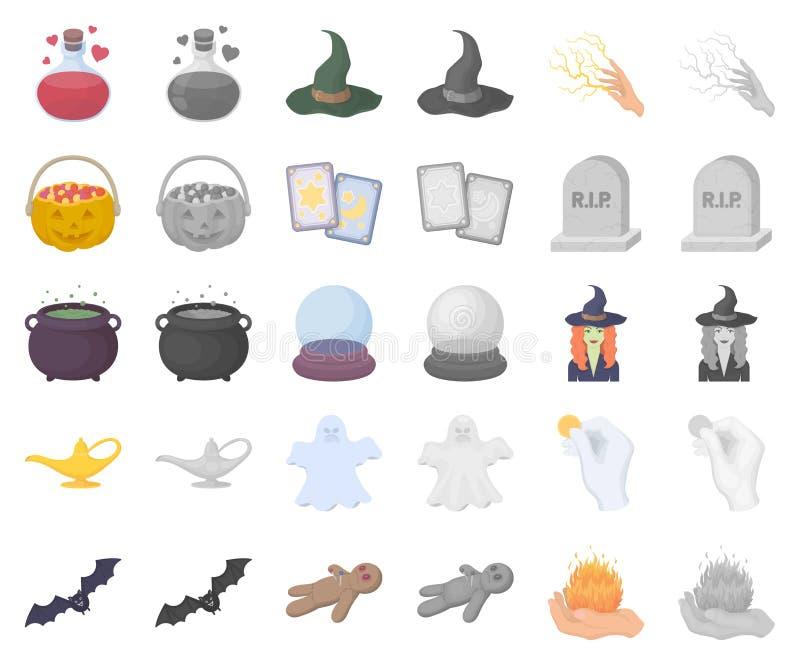 Desenhos animados, monochrom e desenhos animados mágicos brancos, ícones do monochrom em coleção ajustada para o projeto Atributo ilustração royalty free