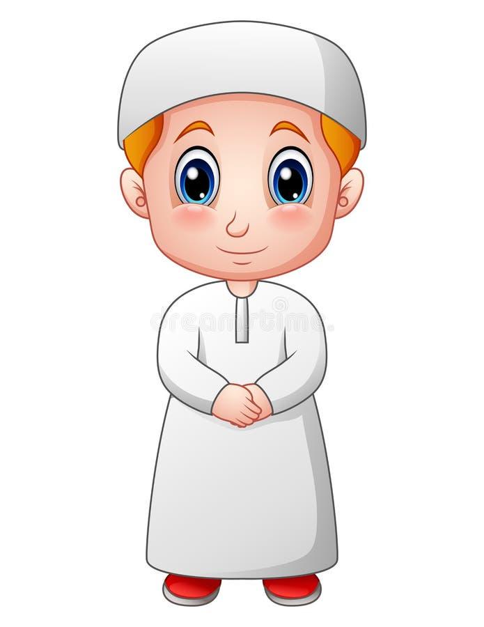 Desenhos animados muçulmanos felizes do menino isolados no fundo branco ilustração do vetor