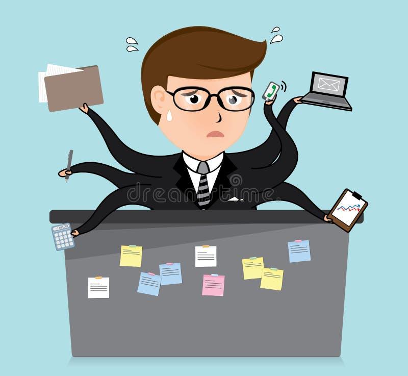 Desenhos animados muito ocupados do homem de negócio, conceito do negócio, ilustração stock