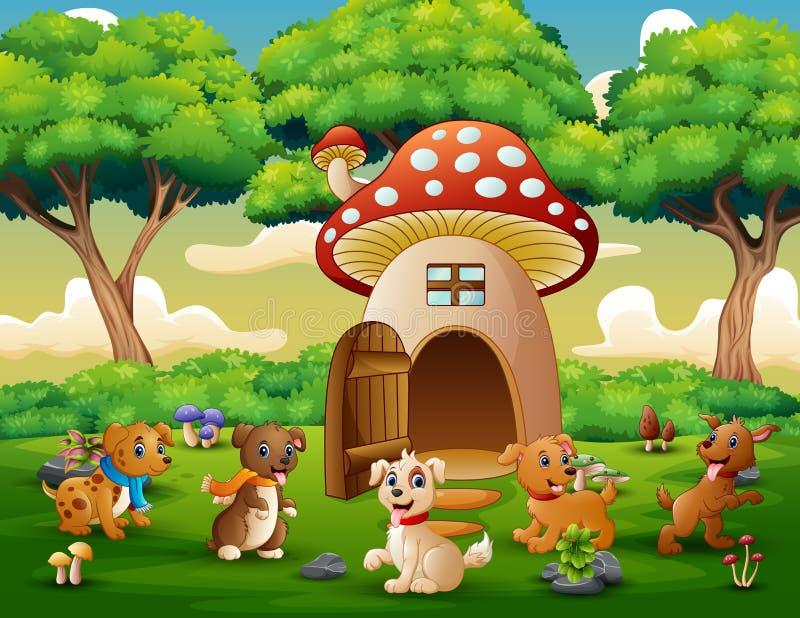 Desenhos animados muitos cão perto da casa vermelha do cogumelo ilustração do vetor