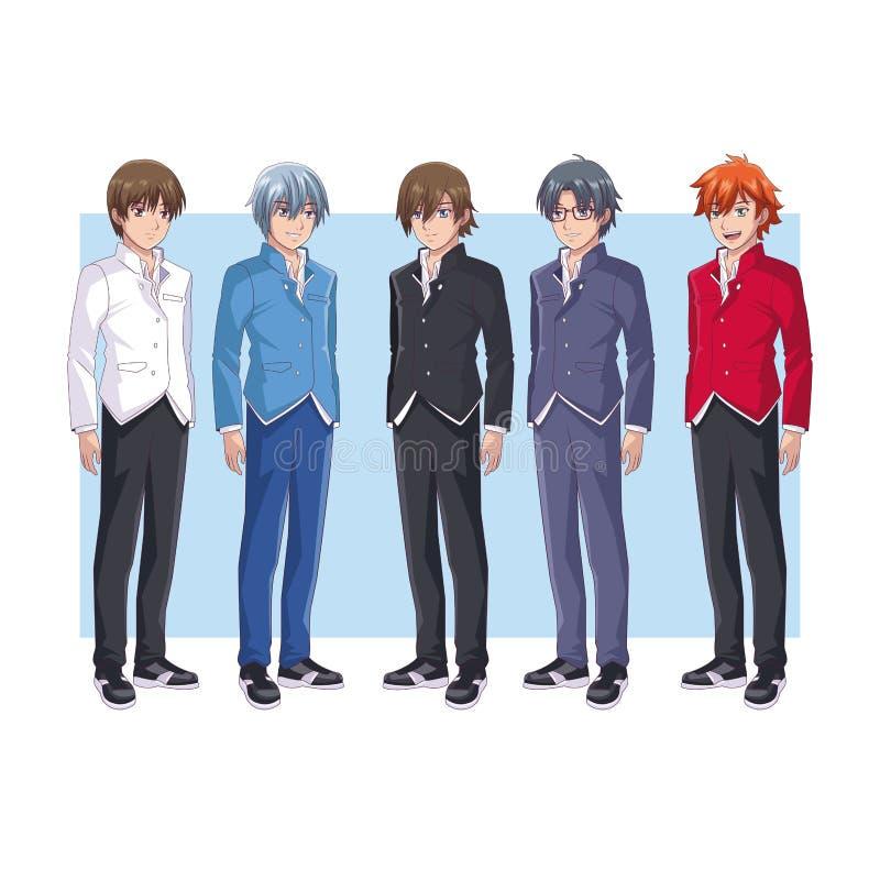 Desenhos animados novos do anime dos homens ilustração royalty free