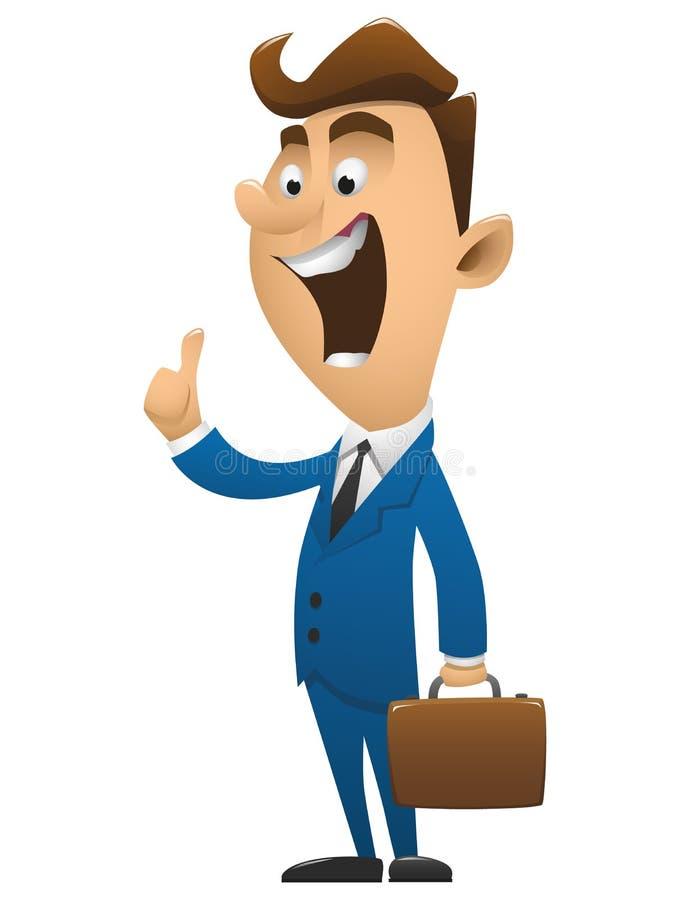 Desenhos animados novos e bem sucedidos do homem de negócio ilustração stock