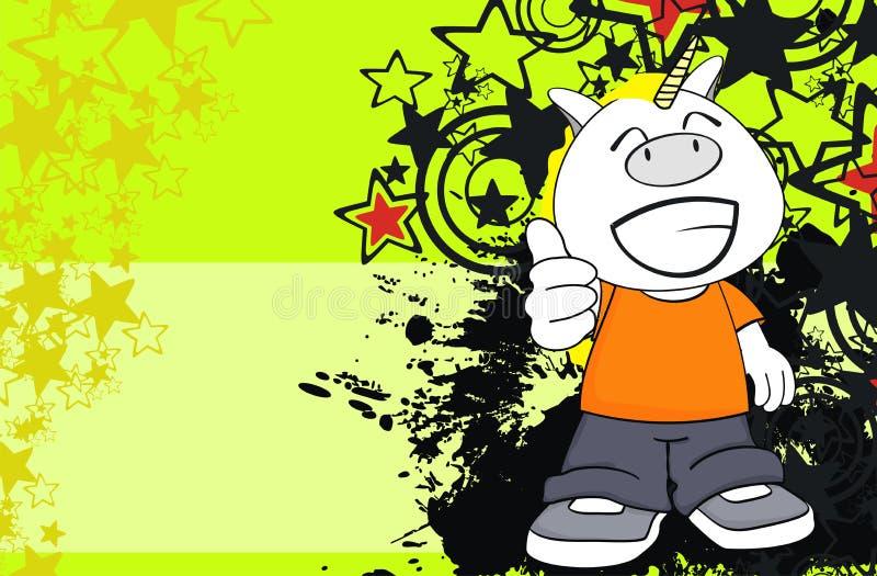 Desenhos animados novos felizes background1 da criança do unicórnio ilustração do vetor