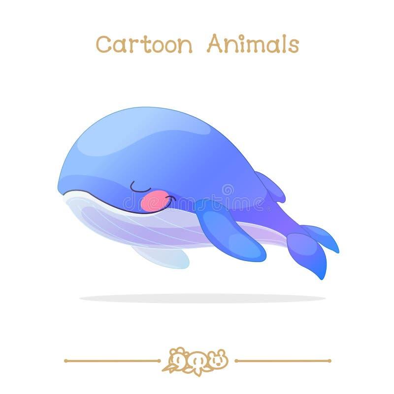 Desenhos animados: Olho do fim do close-up da baleia azul do sono ilustração royalty free