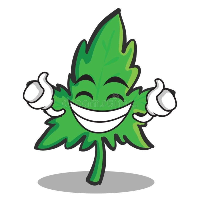 Desenhos animados orgulhosos do caráter da marijuana da cara ilustração do vetor