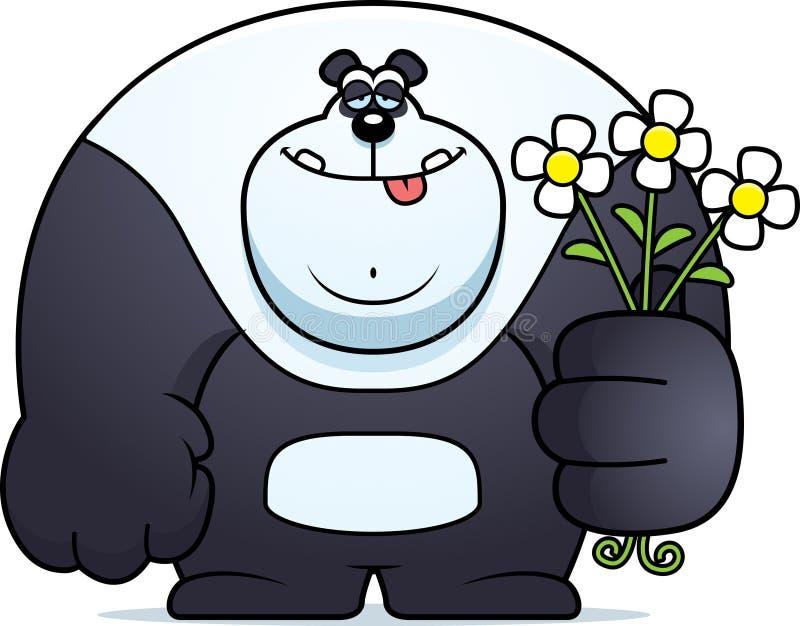 Desenhos animados Panda Flowers ilustração stock
