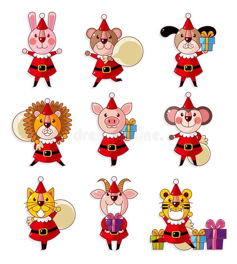 Desenhos animados Papai Noel animal, feriado do xmas ilustração royalty free
