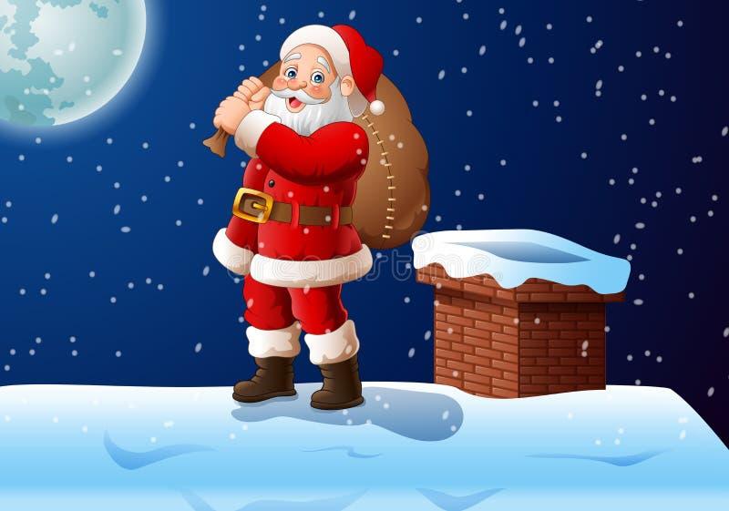 Desenhos animados Papai Noel que está na parte superior do telhado que leva um saco grande ilustração stock