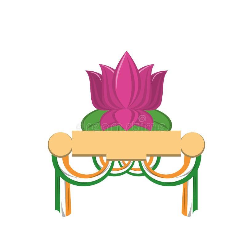 Desenhos animados patrióticos indianos dos emblemas isolados ilustração do vetor