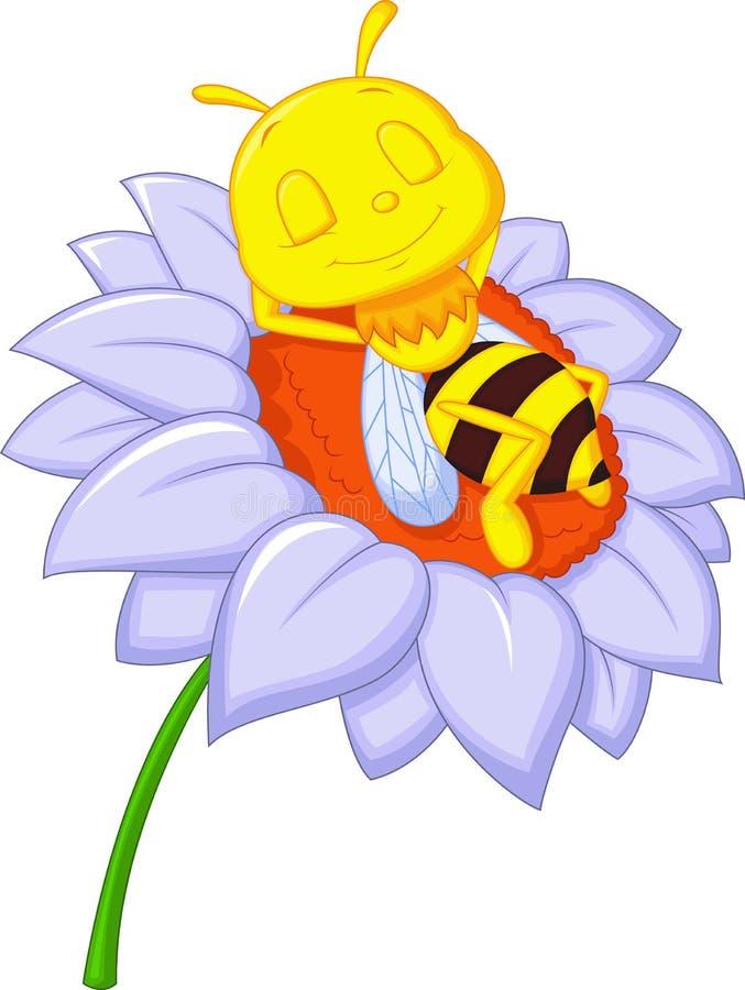 Desenhos animados pequenos da abelha que dormem na flor grande ilustração royalty free