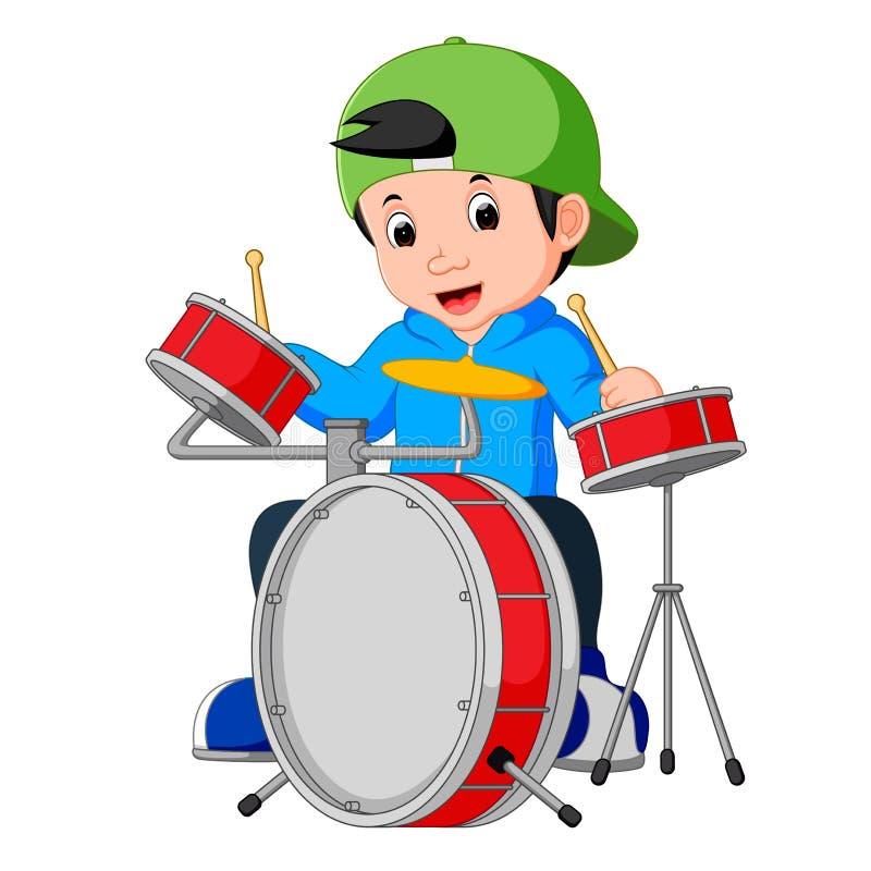 Desenhos animados pequenos do baterista ilustração stock