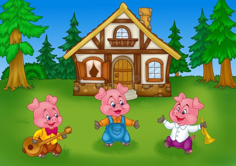 Desenhos animados pequenos do fundo da casa da natureza da floresta dos porcos do conto de fadas três ilustração do vetor