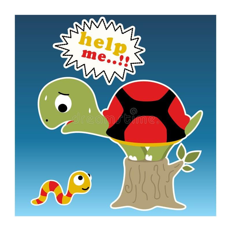 Desenhos animados pequenos engraçados da tartaruga ilustração do vetor